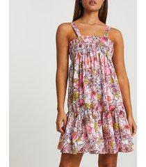 river island womens pink mini shirred parachute beach dress