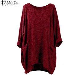 zanzea pullover bolsillos tops mujeres o cuello de manga larga sólido blusas flojas ocasionales -vino rojo