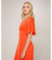 vestido para mujer unicolor de largo medio con capa sobrepuesta en color naranja naranja 6