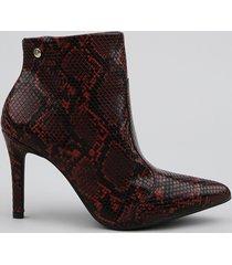 bota feminina vizzano estampada animal print cobra bico fino vermelha escuro