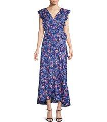 ava & aiden women's floral wrap-front dress - blue - size s