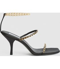reiss magda chain - satin strappy heeled sandals in black, womens, size 10