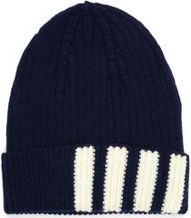 contrast stripes ribbed cashmere beanie