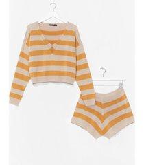 womens feeling kinda chilly stripe shorts lounge set - mustard