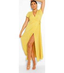 plusmaat wikkelmaxi-jurk met polkastippen, geel