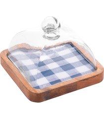 queijeira madeira com tampa vidro xadrez 24x24x15cm