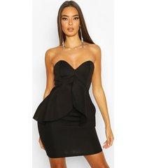 bandeau bonded scuba peplum mini dress, black