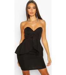 bandeau bonded scuba peplum mini dress
