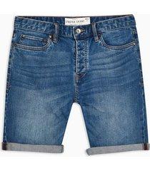 mens blue mid wash denim skinny shorts