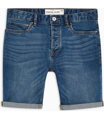 mens blue mid wash skinny denim shorts