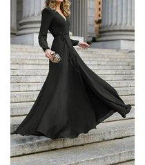 diseño cruzado escote en v manga larga maxi vestido