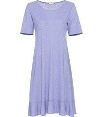 jersey jurk met korte mouw en volantzoom, duifblauw 36