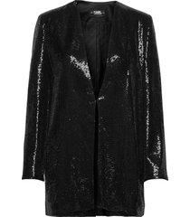 sequins jacket w/ belt blazers over d blazers svart karl lagerfeld