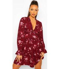 tall geweven bloemenprint jurk met laagjes, berry