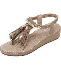 gran tamaño de las mujeres sandalias de cuña de verano bizcocho grueso-beige