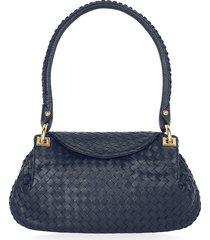fontanelli designer handbags, dark blue woven italian leather flap shoulder bag