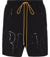 rhude oversize logo print shorts - black