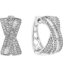 effy women's 14k white gold & 0.6 tcw diamond bow stud earrings