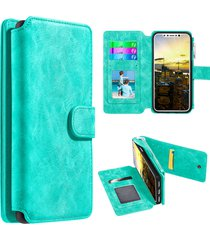 iphone x case flip wallet with card slot and detachable back cover - teal