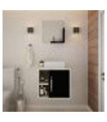 conjunto para banheiro gabinete com cuba q32 e espelheira soft 500 snow com preto ônix