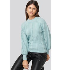 na-kd balloon sleeve cable knitted sweater - blue,turquoise