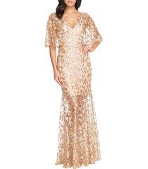 women's dress the population lourdes sequin lace cape sleeve gown