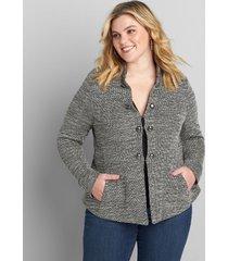lane bryant women's knit tweed military jacket 26 black & white jacquard