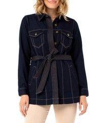 women's liverpool belted denim jacket