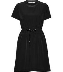 branded draw cords w korte jurk zwart calvin klein jeans