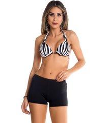 shorts de praia maré brasil liso preto