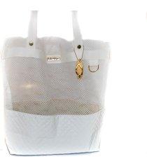 bolsa tote shopper praia ombro feminina impermeável branco