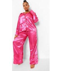 plus satijnen valentijns hartjes pyjama met knopen, pink