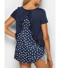 asymmetrical polka dot ruffled tee