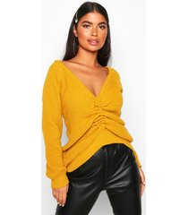 petite knitted ruched front sweater, mustard