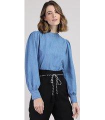 blusa jeans feminina manga bufante decote redondo azul médio