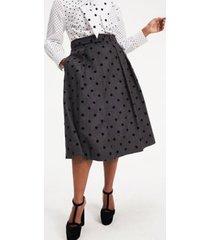tommy hilfiger women's zendaya curve polka dot skirt grey / black dot - 22
