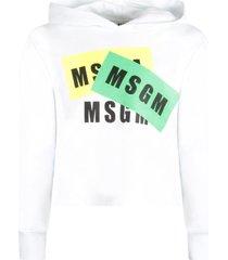 msgm white girl sweatshirt with black logos