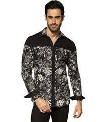 camisa manga longa pargan floral pb masculina
