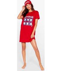 womens merry grinchmas graphic tee and eyemask pajama set - red