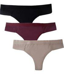 kit 3 calcinhas femininas fio duplo sortidas