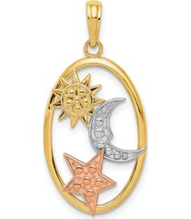 sun, moon and star oval pendant in 14k yellow, rose gold and rhodium