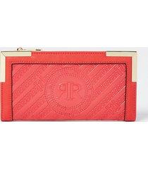 river island womens red ri embossed zip around purse