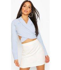 pocket belt detail cropped top, blue
