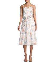 rebecca taylor women's floral tie-waist dress - snow combo - size 8