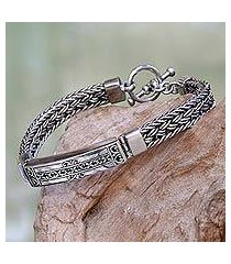 men's sterling silver pendant bracelet, 'denpasar braid' (indonesia)
