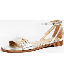 błyszczące sandały na płaskiej podewszwie model rashida