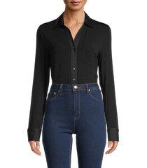 donna karan women's spread-collar long-sleeve bodysuit - black - size xs