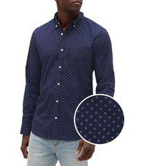 camisa poplin slim azul marino gap