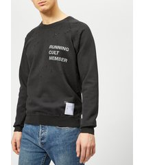 satisfy men's cult moth eaten sweatshirt - wash black - l - black