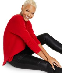 charter club pure cashmere long-sleeve shirttail sweater, created for macy's